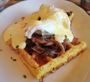 Belgian waffle recipe with bacon, hollandaise and poached eggs