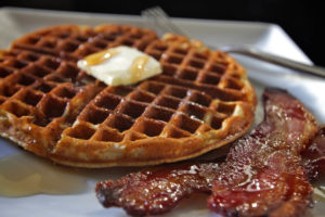 Delicious maple syrup and black pepper candied bacon Belgian waffle recipe