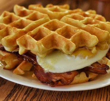 Easy breakfast Belgian waffle burger recipe